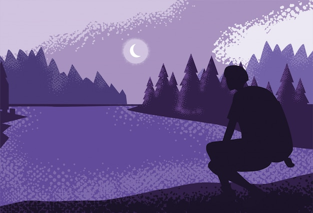 Man traveler in landscape nature purple