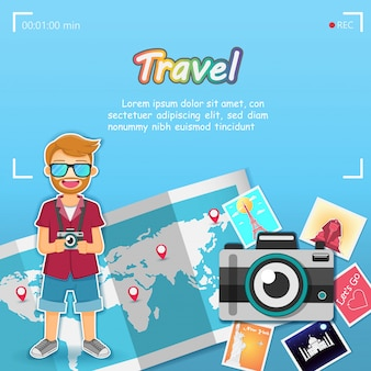 Man traveler top world famous landmark travel the world.