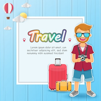 남자 여행자 세계 개념 여행