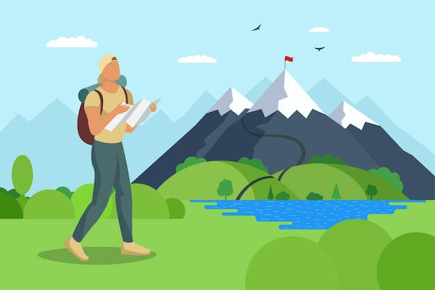 バックパックと地図を持った男の旅行者は、湖の谷の観光客の最高の目標の達成に沿って山に歩きます