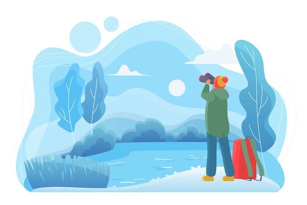 Путешественник человек с плоским биноклем. любитель природы мультипликационный персонаж. человек смотрит на пейзаж в холодный зимний день. наблюдение за дикой природой, путешествия. река, лес, озеро