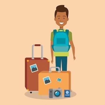 가방 캐릭터와 남자 여행자