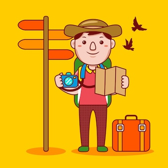 フラット漫画スタイルの男の旅行者の職業