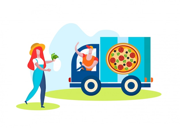 Man truck driver selling pizza on white background