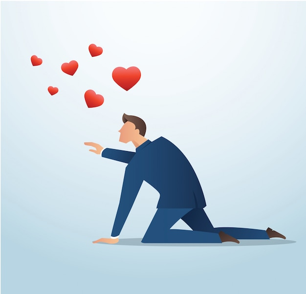 Man trying to catch the red heart icon vector