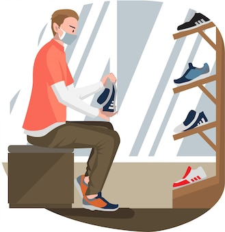 A man trying new shoes at shoes shop