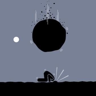 ダチョウであることによって問題を回避しようとしている男。彼は厳しい現実を無視するために地面に頭を掘ります。