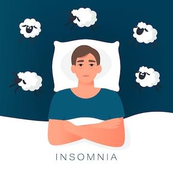 양을 세면서 잠들려고하는 남자. 정신 문제의 불면증 원인, 불면증 아이디어