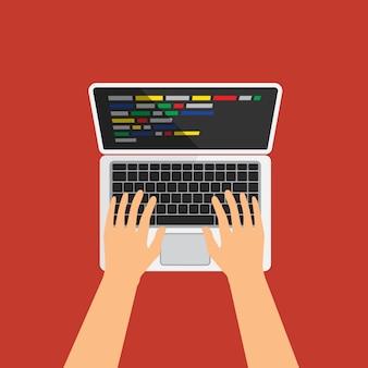 キーボードで入力してプログラムコードを作成する男。ディスプレイ上のコードと白いラップトップ。 web開発者、デザイン、プログラミング。コーディングの概念。孤立した図。