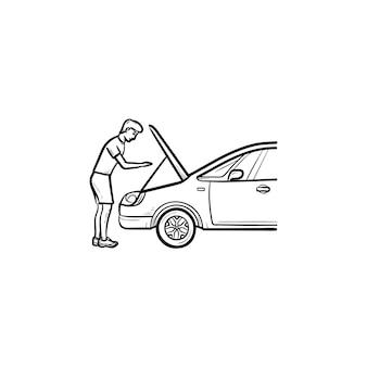 Человек под капотом автомобиля рисованной наброски каракули значок. ремонт и обслуживание автомобилей, автомеханик, концепция двигателя
