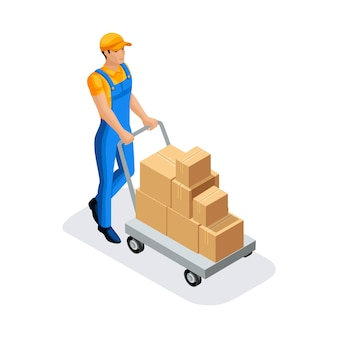 Man in uniform gains goods in the warehouse for further delivery. warehouse concept.  character of emotion.  illustration