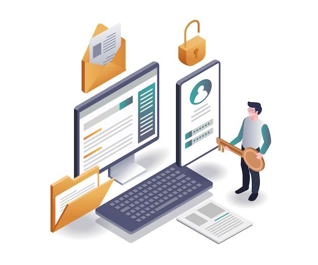 남자는 암호 보안으로 데이터 문서와 이메일의 잠금을 해제합니다.