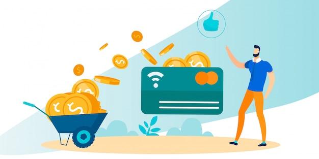 Man use bank card с технологией бесконтактных платежей