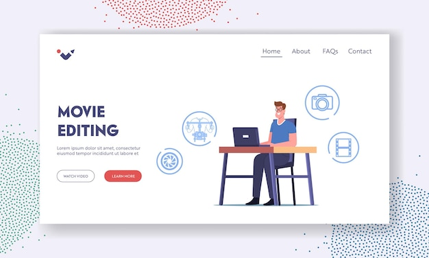 Man use computer software or application for movie montage landing page template. professional videographer character editing video, edition media content. film production, cartoon vector illustration