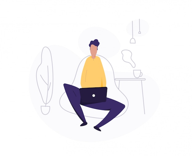 Man use laptop. working at home. freelancer. young man, student  illustration.