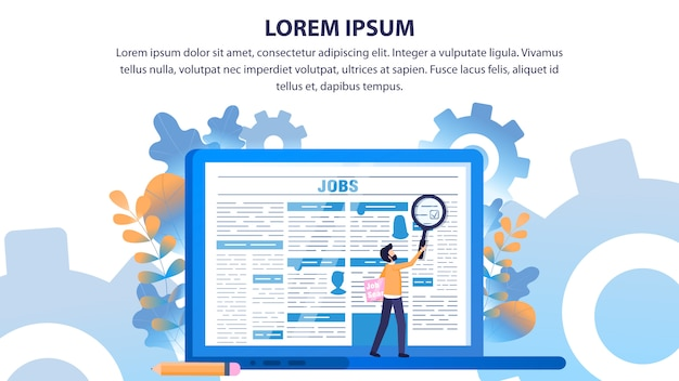 Man use loupe search employment newspaper page