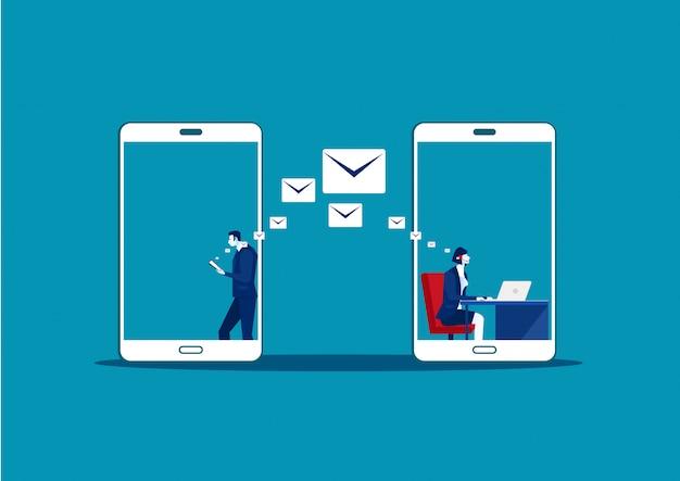 Человек использует samrtphone онлайн письмо в чате сделать колл-центр. социальные медиа коммуникации, векторная иллюстрация
