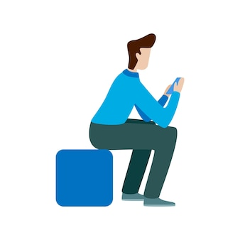 Man use smartphone. flat vector concept illustration isolated