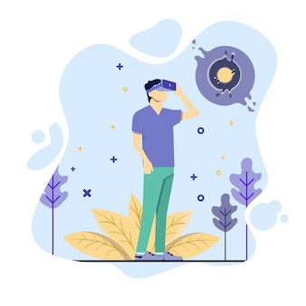 Man use virtual reality illustration concept