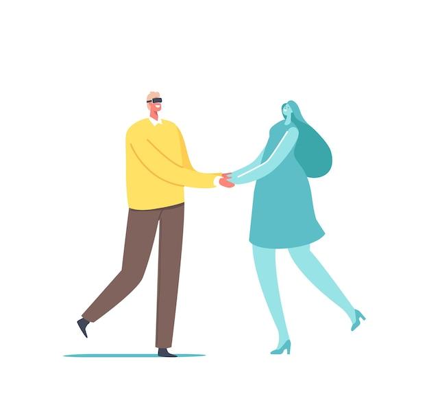 男はデートのためにバーチャルリアリティ技術を使用します。拡張現実vrゴーグルを身に着けている男性がサイバースペースで女の子とデート