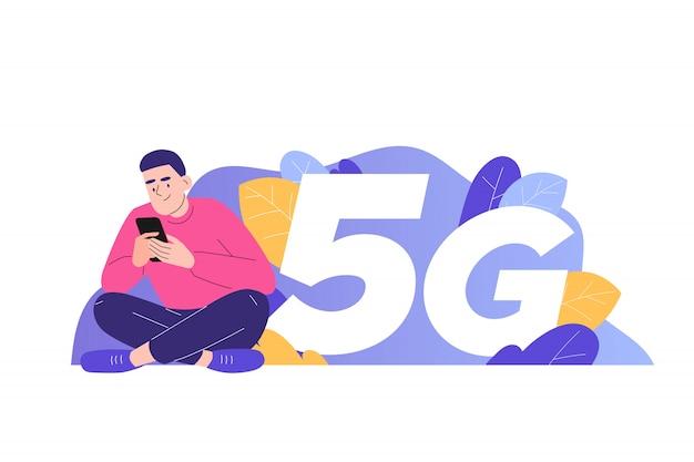 Man using 5g on smartphone