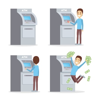 Man using atm machine. guy insert credit card, dialing pin code and withdraw pile of money. happy bank customer. flat