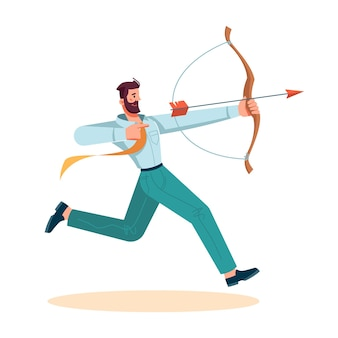 Человек, использующий лук, чтобы стрелять из стрелы, изолированный бизнесмен пытается добиться достижения и успешного завершения