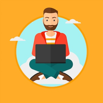 Man using cloud computing technology.