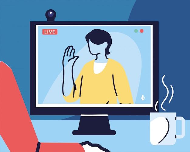 Человек использует компьютер для виртуальной встречи, видеоконференции, удаленной работы, технологии