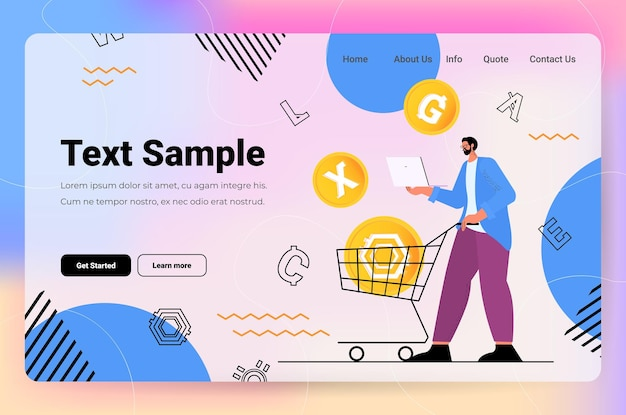 ラップトップ仮想送金アプリの銀行取引デジタル通貨で暗号通貨マイニングアプリケーションを使用している男