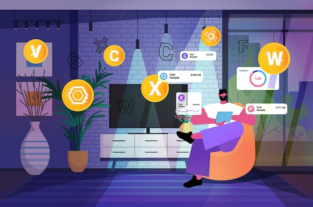 タブレットpc仮想送金アプリバンキングトランザクションデジタル通貨で暗号通貨マイニングアプリケーションを使用している男