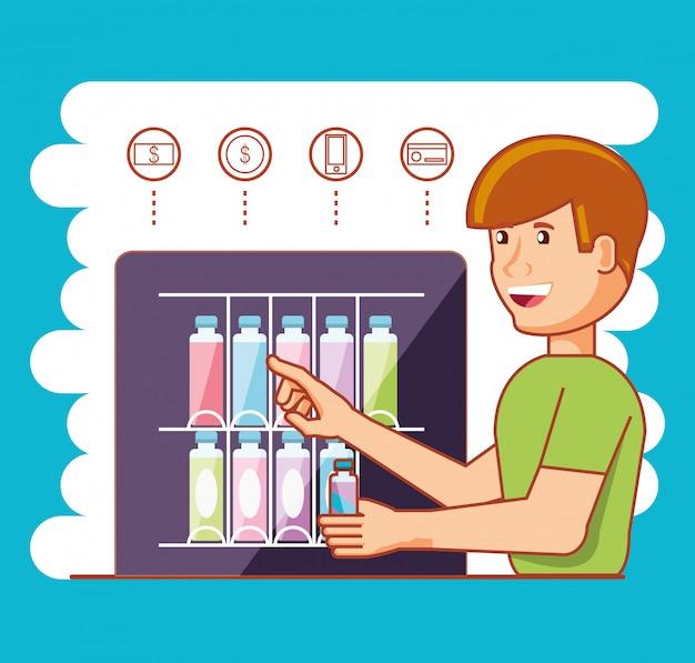 Человек, используя дозатор напитков машина электронная