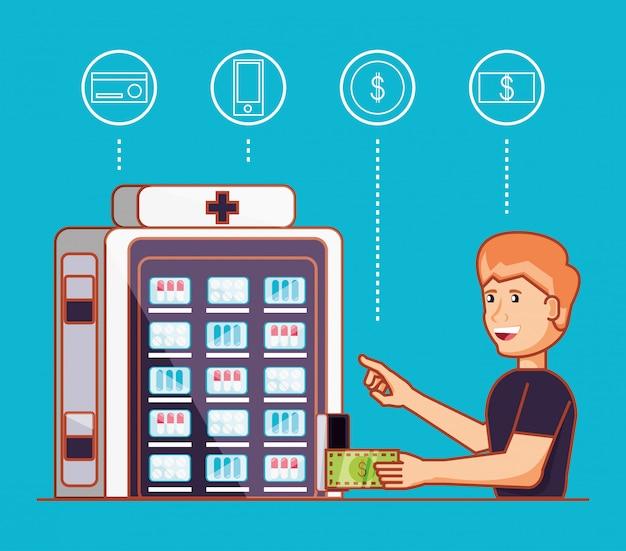 Человек, используя дозатор медицины машина электронная