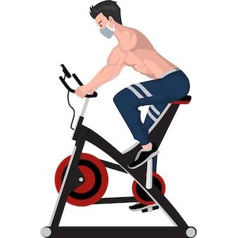 그의 다리 근육을 구축하기 위해 피트니스 수직 자전거를 사용하는 사람