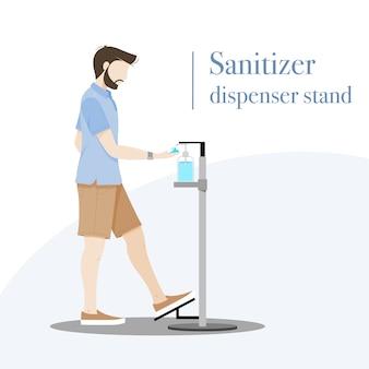 Man using hand sanitizer