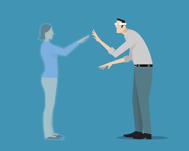 Hololens 증강 현실 헤드셋을 사용하여 여자 친구를 시각화하는 남자.