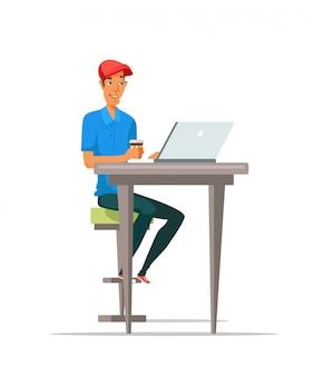 Человек, использующий ноутбук и пьющий кофе плоской иллюстрации