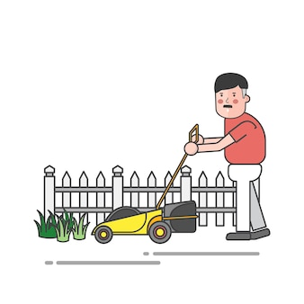 Man using mower