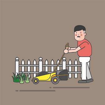 Man using mower