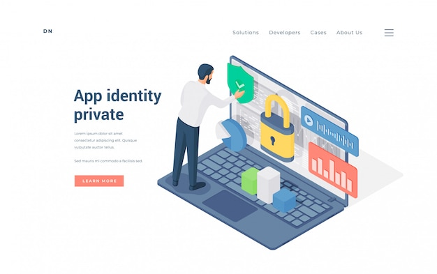 Man using private app on laptop. isometric man entering secured private app by confirming identity on advertisement banner of online protection website
