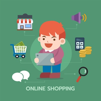 Man using tablet for shopping online with e-commerce icon. infographic composition
