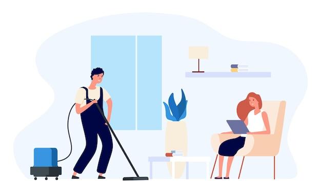 男の掃除機。男は家のイラストを掃除します。幸せなフラットカップル、日常のベクトルの概念。よりクリーンなルーチン、人々のハウスキーピング