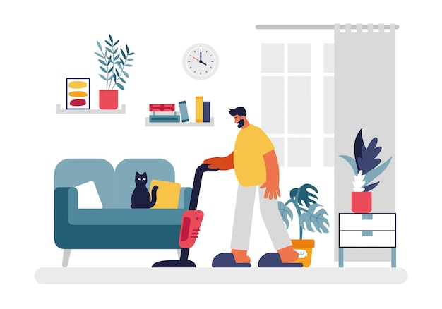 Man vacuums room illustration. male character in yellow tshirt and slippers with red vacuum cleaner cleaning living room. green sofa with black cat and home plants and books on shelves vector flat.