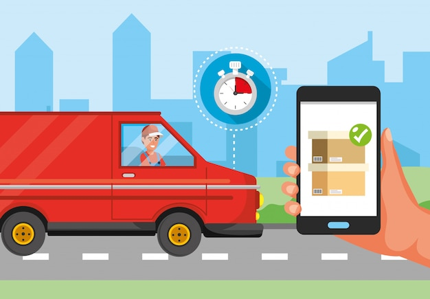 Man in the van transport and hand with smartphone delivery service