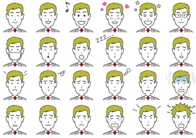 Uomo, varie, espressioni facciali, set, isolato