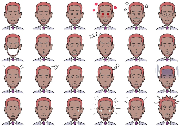 Man various facial expressions set isolated