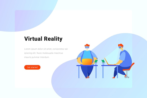 L'uomo con gli occhiali virtuali lavora sul computer portatile sul posto di lavoro concetto di realtà virtuale