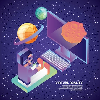 Man in virtual reality headset computer 3d planets cosmos