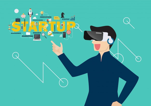 Man in virtual reality startup concept
