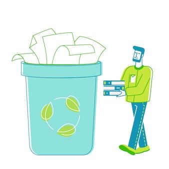 男性ボランティアキャラクターは古紙のゴミを収集する古い使用済みファイルシートの山を運ぶ